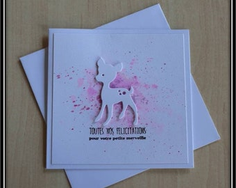 Pink for a fawn amid birth congratulation card