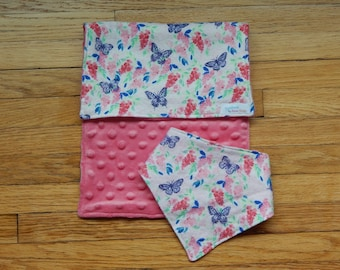 Floral Butterfly Baby Gift Set - Baby Girl Gift Set - Burp Cloth & Bib - Baby Girl - Baby Shower Gift - Pink and Floral - Butterfly