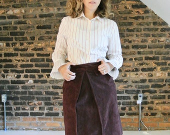 SALE 20% OFF 1990's Vintage Does 60's || Ox Blood Red || A Line || High Waist || Suede Skirt