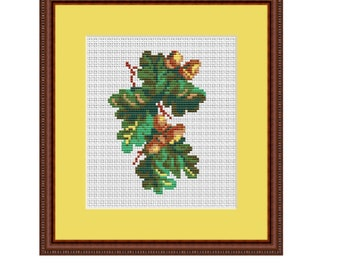 The Branch Of The Oak Counted Cross Stitch Pattern. PDF Instant Download. Home Decor Pattern. Tree Cross Stitch Pattern.  Decor. Gift.
