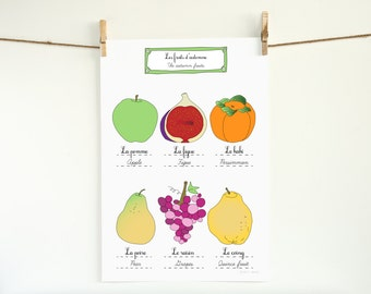 Kitchen Art fall Fruits Autumn 13x19 French kitchen poster of original illustration home decor Food Garden botanical chart