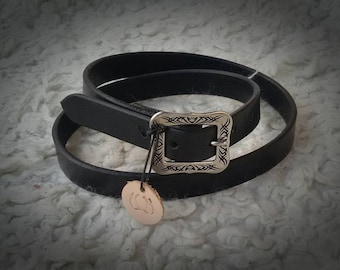 Belt, leather belt, black with stainless steel buckle