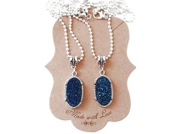 Druzy Dark Blue Crystal Pendant Necklace 18 Inch