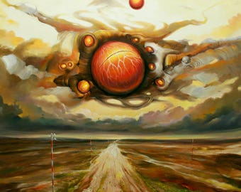 The clock of the universe IV. Limited edition art print of original oil painting. Surrealism. Wall art on canvas. Wall decor. Home decor.