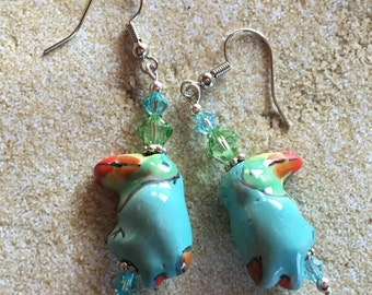 Parrot Lampwork Earrings, Lampwork Earrings, Beadwork Earrings, Glass Bead Jewelry