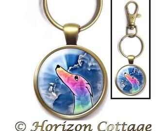 HorizonCottage's Dog Memorial Gift, Rainbow Bridge Clip, Rainbow Greyhound, Your Choice of Finish