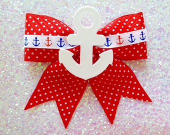 Ahoy Sailor Gal Anchor Hair Bow - Red - Nautical - Rockabilly - 1950s
