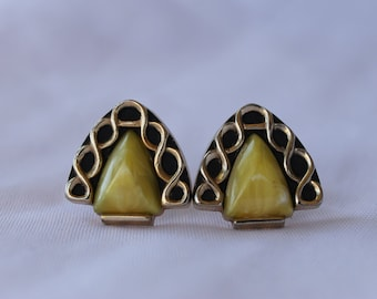Vintage Anson Cuff Links, Yellow and Gold Cufflinks, FREE DOMESTIC SHIPPING