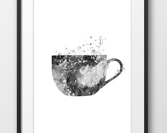 Kitchen Tea Cup Black and White Print, Modern Kitchen Watercolor Poster, Kitchen Wall Art, House Warming Gift, Dining Room Art (A0305)