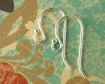 5 Pairs Petite Sterling Silver or Antique Sterling Silver Ear Wires - Simple Style With 1.5mm Ball