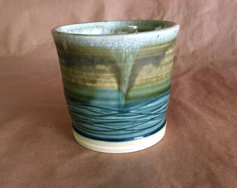 Wide mouthed stoneware vase