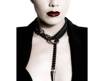 Black Necklace - Bdsm Collar Discreet - O Ring Chain Choker w. Leash - Master and Slave - Gothic - Vampire - Bondage - Erotic - FORBIDDEN