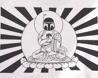 Mens Star Wars Bobba Fett Buddha- American Apparel silver T shirt- available in s,m, l, xl, xxl- WorldWide Shipping