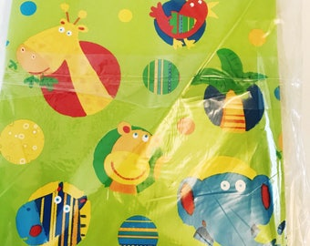 Zoo Animals All Occasion Wrapping Green Paper Jungle Lions, Tigers, Bears, Giraffe Zebra Elephant Party Supplies Gifting Packaging
