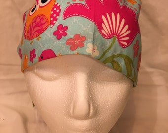 Womans owl and flower ponytail holder scrub hat