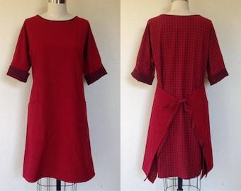 Ingrid tie-back dress- red- M