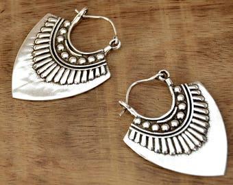 Silver Tribal Earrings, Aztec Earrings, Ethnic Earrings, Boho Earrings, Gypsy Earrings, Bohemian Earrings, Mexican Jewelry, Tribal Jewelry