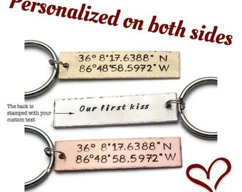 Personalized Custom Keychain, Custom Coordinates, GPS Keychain, Personalized Keychain, Anniversary Gift, Favorite Place, Boyfriend Gift