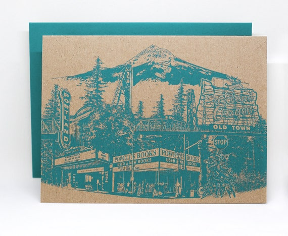 Portland, Oregon Notecard // Portlandmark Greeting Card // Collage // Single card or a set of 6