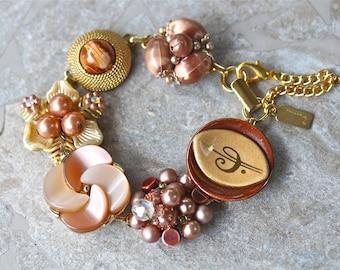 Bridesmaid Gift, Vintage Earring Bracelet, Upcycled, Cluster, Spice, Copper, Gold, Flower, Jennifer Jones, Under 40, OOAK - Cinnamon Girl