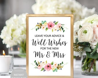Wedding Advice Sign, Please Leave Your Advice and Well Wishes for the Mr and Mrs Sign, Wedding Advice Sign Instant Download Template