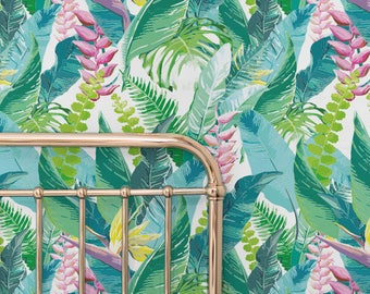 CALATHEA LEAVES pattern wallpaper, Leaves removable wallpaper, Exotic wall mural, Green wallpaper, 109