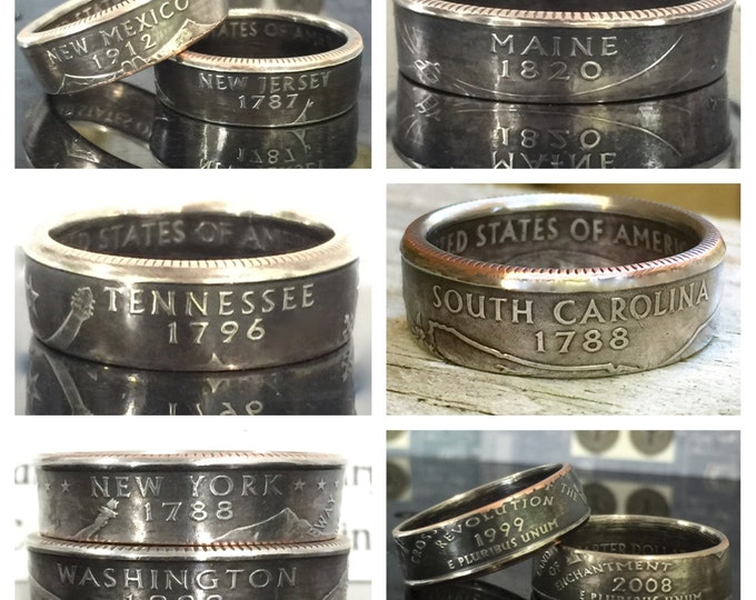 Pick YOUR State Quarter Ring FREE Resizing - Sizes 5-13 - Low US Shipping
