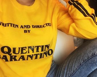 Written by Quentin Tarantino T-shirt - Vintage 90's Shirt - Yellow Tumblr Tee - Stripes Sleeve - Long Sleeve T-shirt - Fun Stylish Top