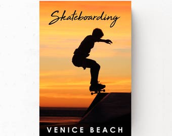 Skateboarding Poster, Dorm Room Poster, Boys Room Wall Art, Skateboarding Print, Venice Beach California, Dorm Room Art, Skateboarding Photo