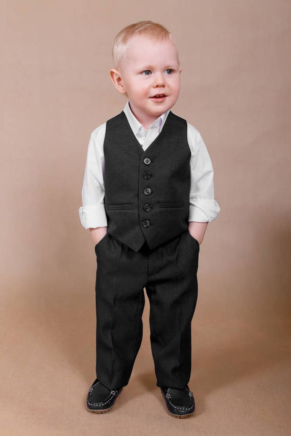 Wedding boy suit Ring bearer outfit Black wedding suit Ring