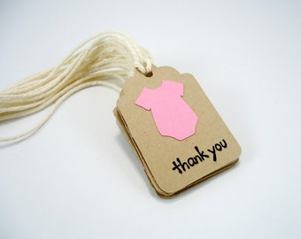 Baby girl shower tags, pink baby tags,  small thank you tags, kraft favor tags, mini baby  shower tags with strings, set of 10