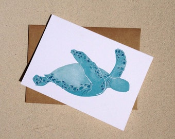"Sea Turtle Notecards - Beach Notecards -  Thank you cards - Set of Eight (3 1/2"" X 5"")"