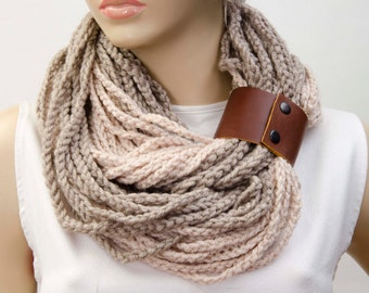 UNISEX crochet chain  infinity scarf with genuine leather bracelet ,Loop scarf , crochet chain lariat  scarf