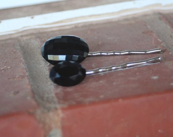 H71-72 Vintage OVAL Black Faceted Glass Upcycled Hair Pins