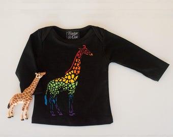 Rainbow giraffe t-shirt. Sizes baby and child