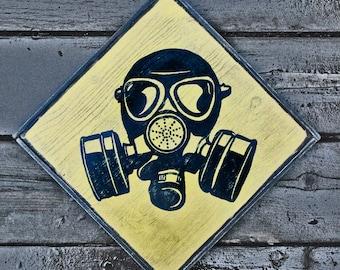 """Vintage wooden sign 'BioHazard"""""""
