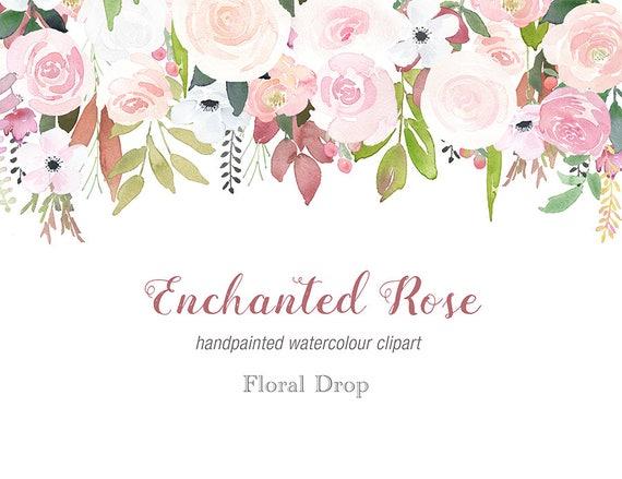 Aquarell Rose Drop Clipart Herbst Hochzeit weiche rose