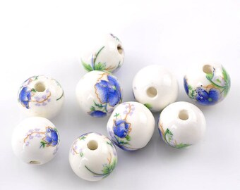 4 ceramic beads, with green stem and touch of violet blue flower pattern, 12mm