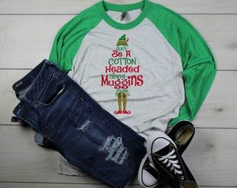 Merry Christmas Cotton Headed Ninny Muggins Elf Baseball Tee Shirt Glitter Bling