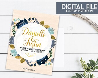 Simple Wedding Invitation with Save the Date card included!