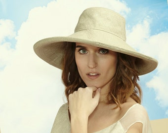 Floppy Hat, Beach Hat, Travel Hat, Wide Brim Hat, Summer Hat, Linen, Womens Hats, Summer Fashion, Linen Sunhat, Romantic Hat, Natural Style