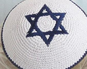 Kippah 17cm Jewish Head covering from Jerusalem yamaka Menorah Amazing yarmulke handmade Kniited Jewish Blue and White Kippah Kipah Yamaka