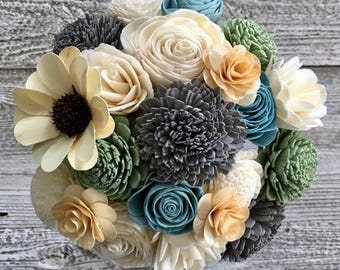Sunshiney Day Sunflower Bouquet - Wooden Flowers - Grey, Blue, Green -  Made to Order - Sola Flowers - CB1011