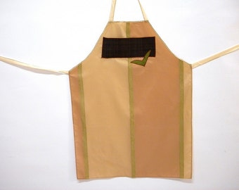 Luxury Apron pale pink and beige for serving and cooking decorated with applique pocket and trimming gift for kitchen and her or him.