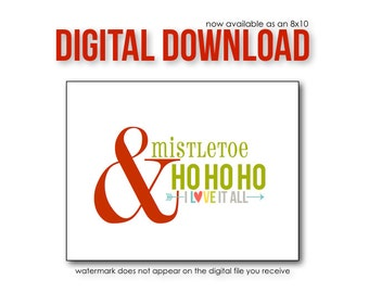 Holiday Art Print Poster Sign. Mistletoe & Ho Ho Ho Holiday Decoration . 8x10 A4 // Candy Cane Red Green
