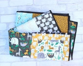 modern patchwork quilt - gender neutral jungle safari crib bedding - elephant, sloth, giraffe toddler blanket - 100% cotton