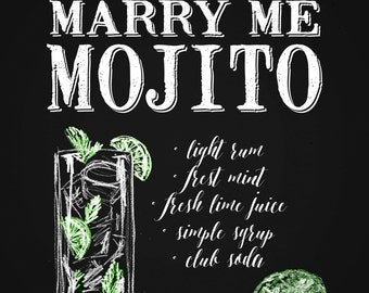 Marry Me Mojito, signature drink printable, chalkboard style