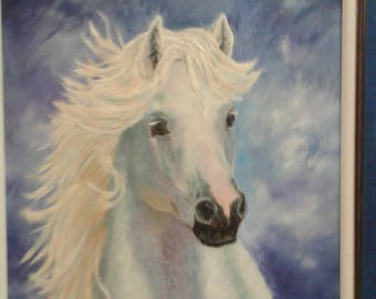 Vintage White  Arabian Horse Portrait/ Signed