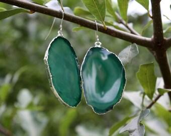 Green Agate Slice Earrings - Silver Edged Agate Earrings - Natural Stone Earrings - Agate Jewelry - Large Agate Earrings - Sterling Silver