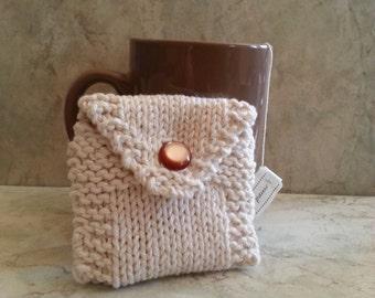Tea Bag Tote Tea Holder Tea Bag Purse Off-White Cotton Handknit